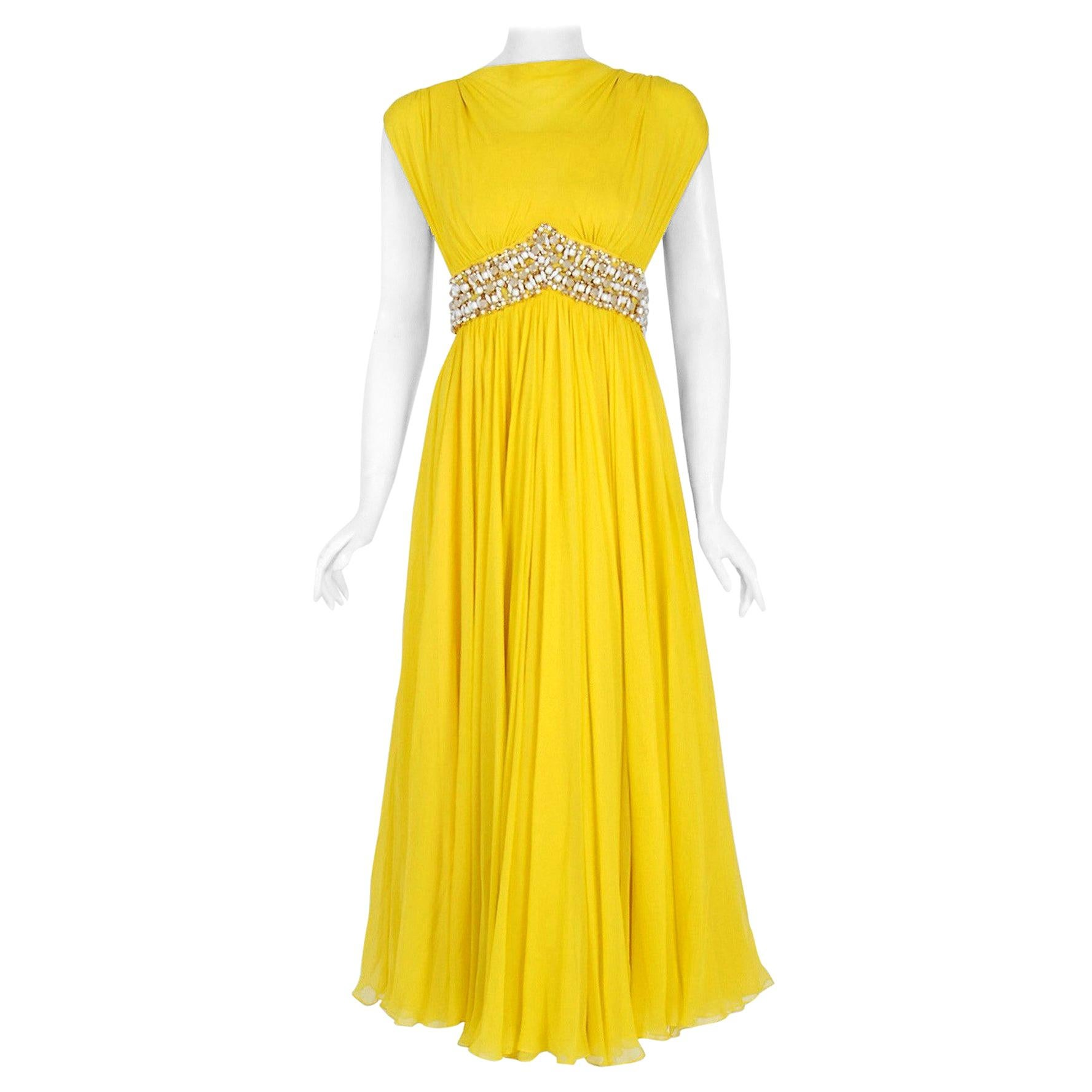 Vintage 1960's Bob Bugnand Bright Yellow Draped Silk Chiffon Beaded Goddess Gown