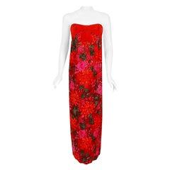 Vintage 1960's Bob Bugnand Red & Orange Floral Flocked Satin Strapless Gown