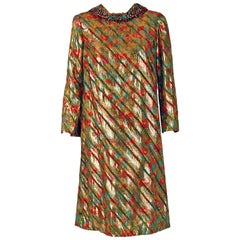 Vintage 1960's Branell Beaded Colorful Metallic Lame Belted Long-Sleeve Dress