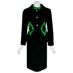 Vintage 1960's Burke-Amey Couture Black Wool & Green Silk Applique Dress Suit