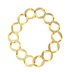 Vintage 1960s Cartier London 18 Karat Yellow Gold Curb Link Bracelet