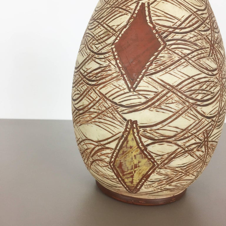 Mid-Century Modern Vintage 1960s Ceramic Pottery Vase by Sawa Ceramic Franz Schwaderlapp, Germany For Sale