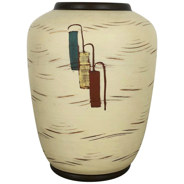 Vintage 1960s Ceramic Pottery Vase by Sawa Ceramic Franz Schwaderlapp, Germany For Sale