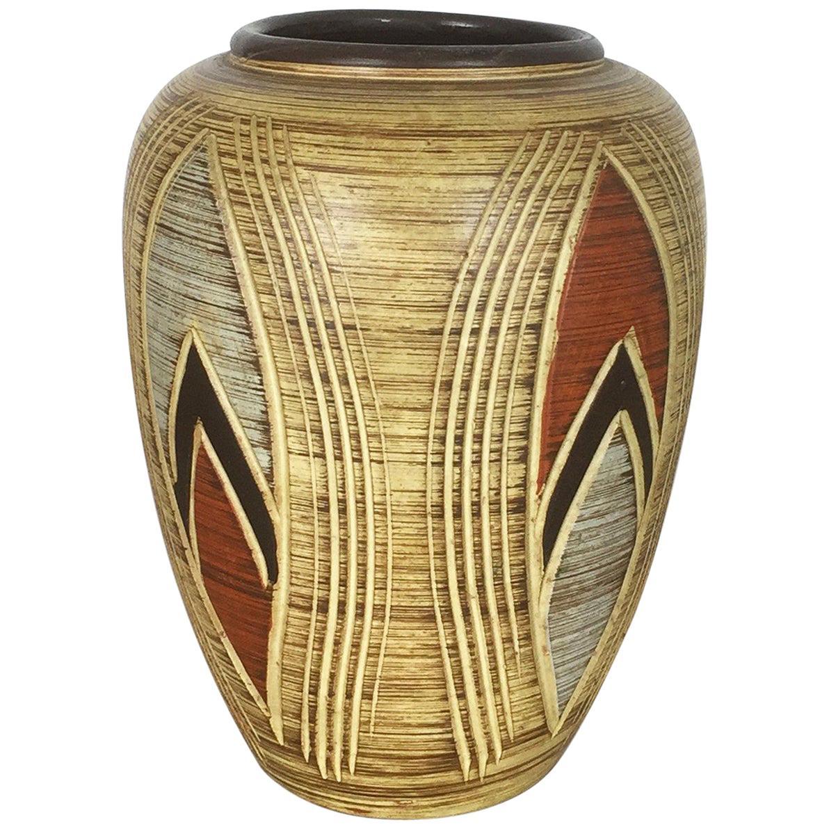 Vintage 1960s Ceramic Pottery Vase by Sawa Ceramic Franz Schwaderlapp, Germany