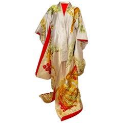 Vintage 1960s' Ceremonial /Wedding Kimono from Kyoto Japan