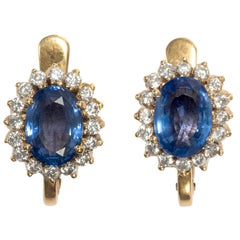 Vintage 1960s Certified No Heat 5.0 Carat Blue Sapphire Diamond Cluster Earrings