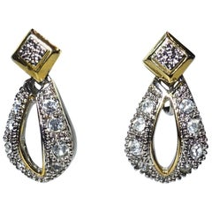 Vintage 1960s Clear Crystal Gold & Silver Tone Earrings