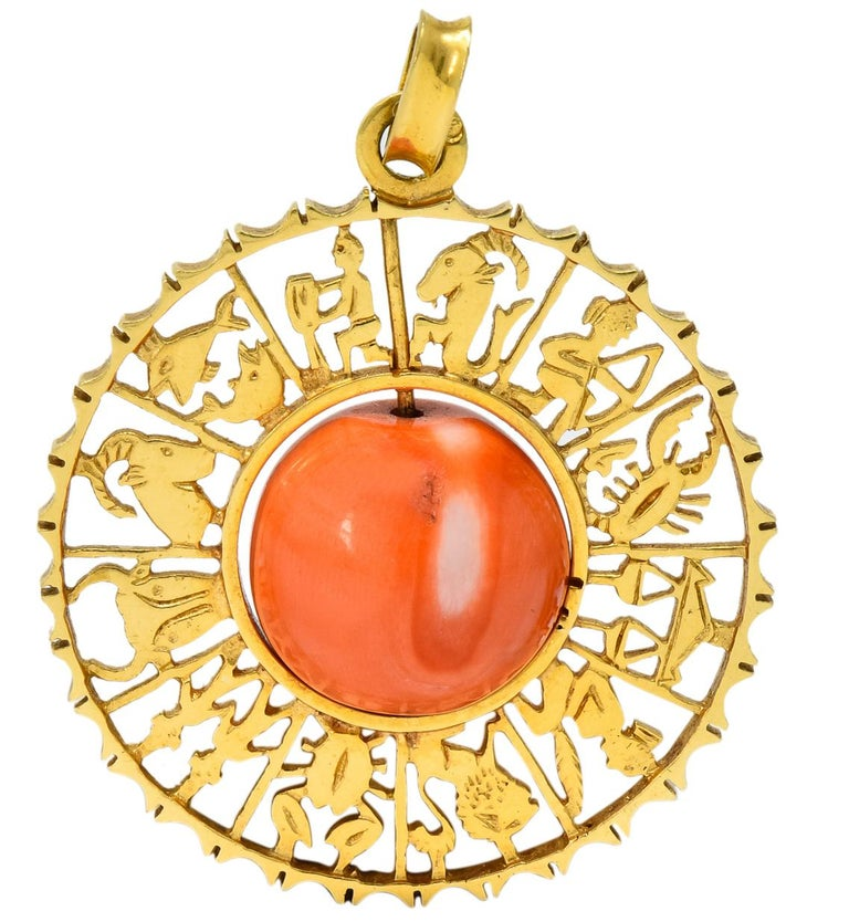 Vintage 1960s Coral 18 Karat Yellow Gold Zodiac Articulated Pendant In Excellent Condition For Sale In Philadelphia, PA