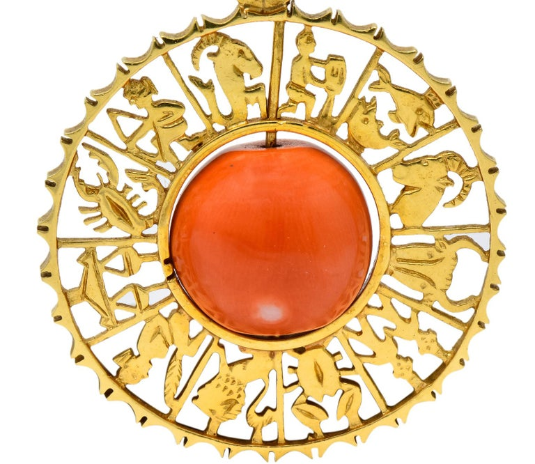 Women's or Men's Vintage 1960s Coral 18 Karat Yellow Gold Zodiac Articulated Pendant For Sale