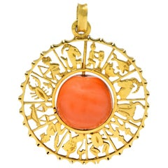 Vintage 1960s Coral 18 Karat Yellow Gold Zodiac Articulated Pendant