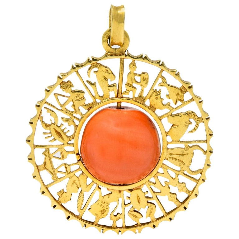 Vintage 1960s Coral 18 Karat Yellow Gold Zodiac Articulated Pendant For Sale