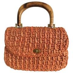 Vintage 1960's Coral Orange Raffia Handbag