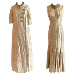 Vintage 1960s Cream and Gold Brocade Coat and Gown Set with Beaded Detail