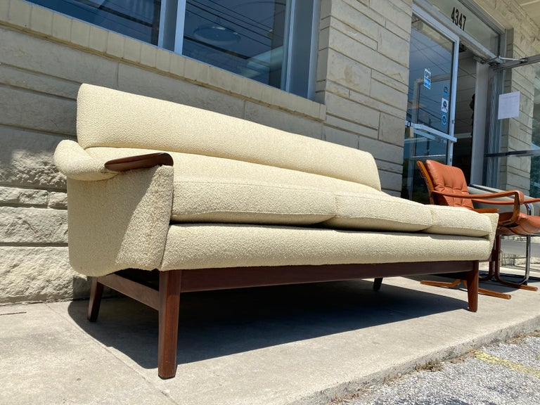 Mid-Century Modern Vintage 1960s Cream Boucle and Walnut Sofa by R. Huber & Co. For Sale