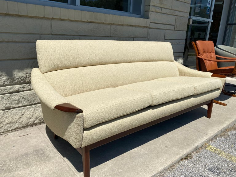 Canadian Vintage 1960s Cream Boucle and Walnut Sofa by R. Huber & Co. For Sale