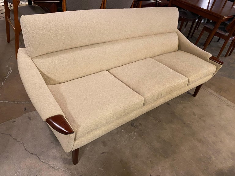 Upholstery Vintage 1960s Cream Boucle and Walnut Sofa by R. Huber & Co. For Sale