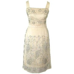 Cream Silk and Hand Made Lace Dress with Beads and Glass Rhinestones circa 1960s