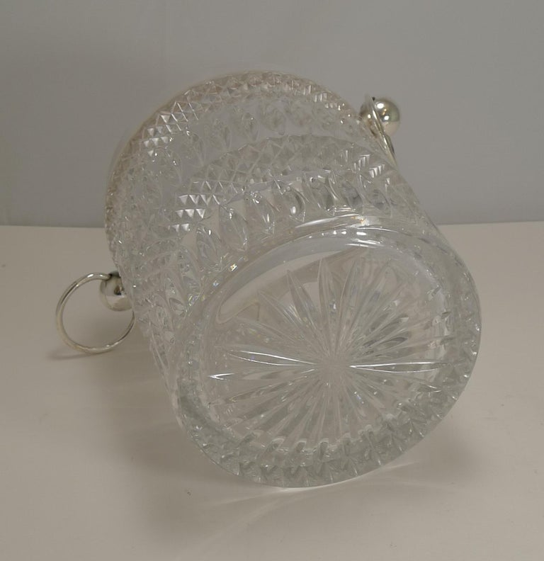 European Vintage 1960s Crystal and Silver Plate Wine Cooler / Champagne Bucket For Sale