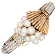 Vintage 1960s Cultured Pearl Bracelet 14 Karat Gold Cuff Estate Jewelry Spray