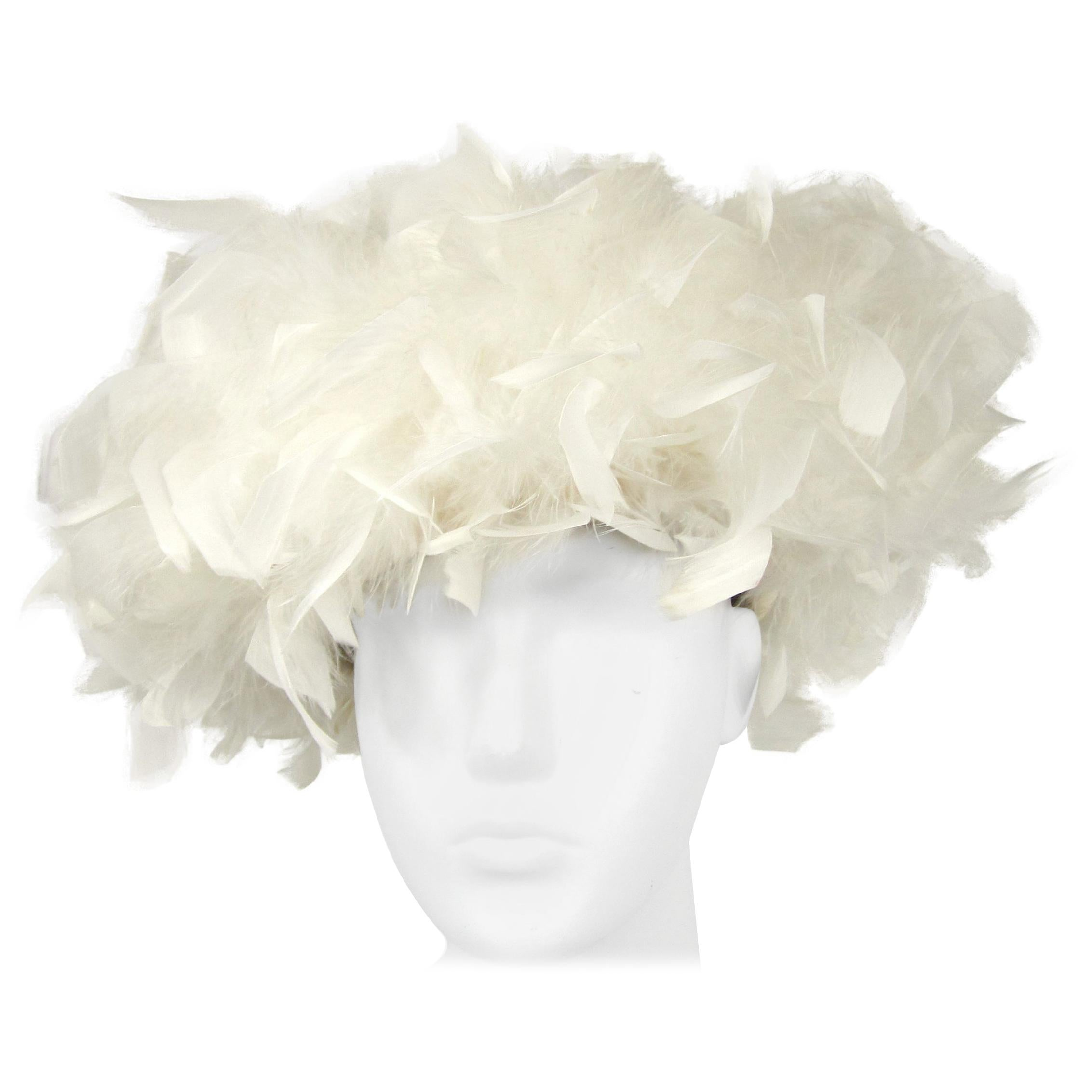 Vintage 1960s Custom Made White / Cream Feathered Hat