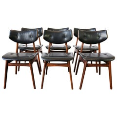 Vintage 1960s Danish Modern Set of Six Teak and Black Leather Dining Chairs