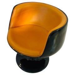 Vintage 1960s Design Armchair in Black Cognac