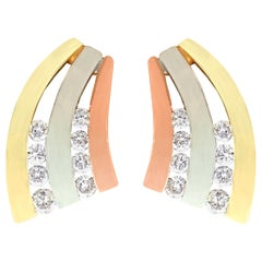 Vintage 1960s Diamond and Rose White and Yellow Gold Stud Earrings