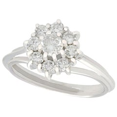 Vintage 1960s Diamond and White Gold Cluster Engagement Ring