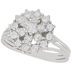 Vintage 1960s Diamond and White Gold Cluster Ring