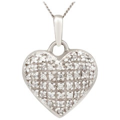 Vintage 1960s Diamond and White Gold Heart Pendant