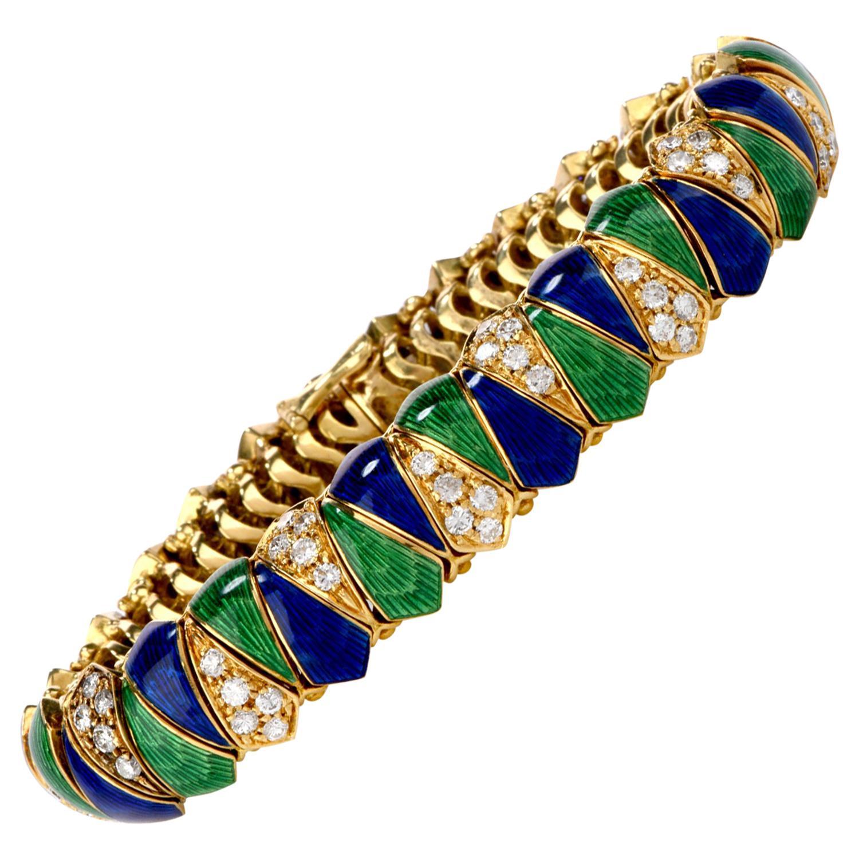 Vintage 1960s Diamond Blue and Green Enamel 18 Karat Yellow Gold Bracelet