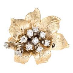 Vintage 1960s Diamond Cocktail Ring 14 Karat Gold Flower Estate Fine Jewelry
