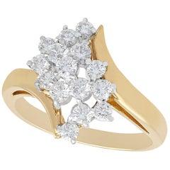 Vintage 1960s Diamond Yellow Gold and White Gold Set Twist Ring