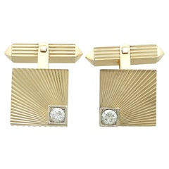 Vintage 1960s Diamond Yellow Gold Cufflinks