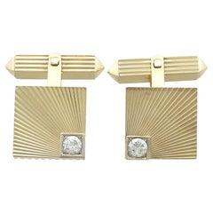 Vintage 1960s Diamond Yellow Gold Cufflinks
