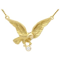 Vintage 1960s Diamond Yellow Gold Eagle Pendant