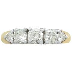Vintage 1960s Diamond Yellow Gold Five-Stone Ring