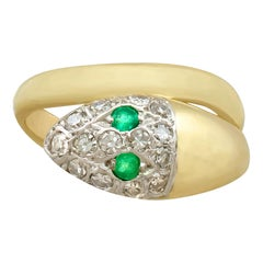 1960s Emerald and Diamond Yellow Gold Snake Ring