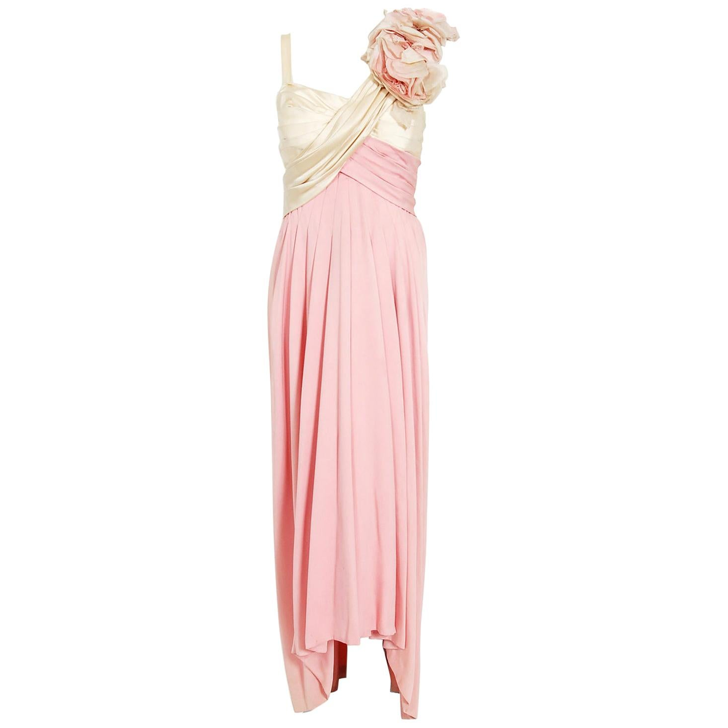 Vintage 1960's Film-Worn Pink Silk and Ivory Satin Floral Appliqué Draped Gown