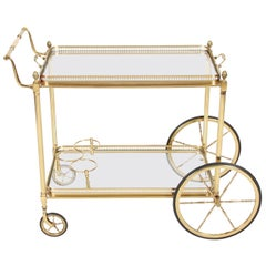 Vintage 1960s French Brass Drinks Trolley and Bar Cart