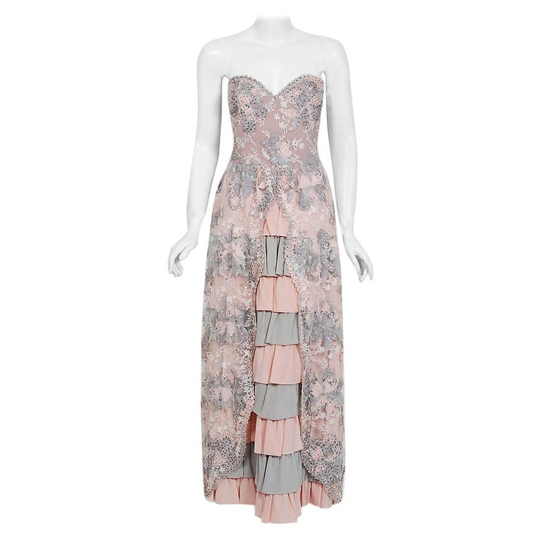 Vintage 1960's French Couture Pink Gray Embroidered Lace & Silk Strapless Gown For Sale