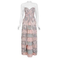 Vintage 1960's French Couture Pink Gray Embroidered Lace & Silk Strapless Gown