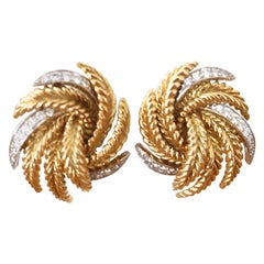 Vintage 1960s French Diamond Gold Earrings
