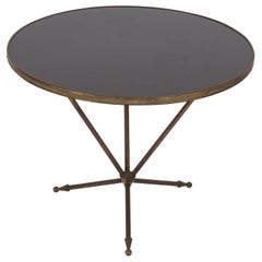 Vintage 1960s French Small Round Brass & Black Glass Side Table