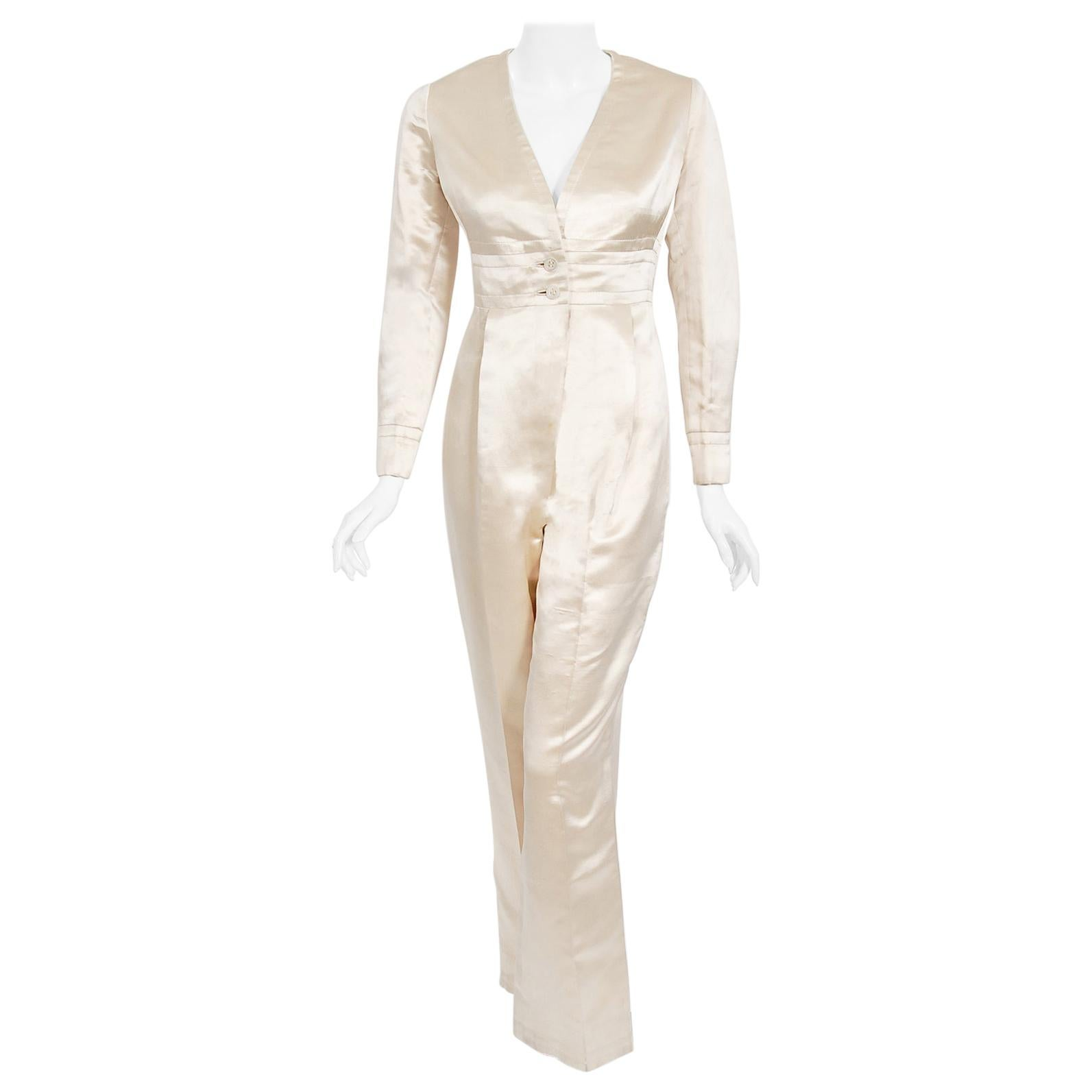 Vintage 1960's Galanos Couture Ivory Silk Satin Low-Plunge Long Sleeve Jumpsuit