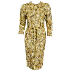 Vintage 1960's Gene Shelly Chartreuse Yellow Sequin Beaded Knit Cocktail Dress