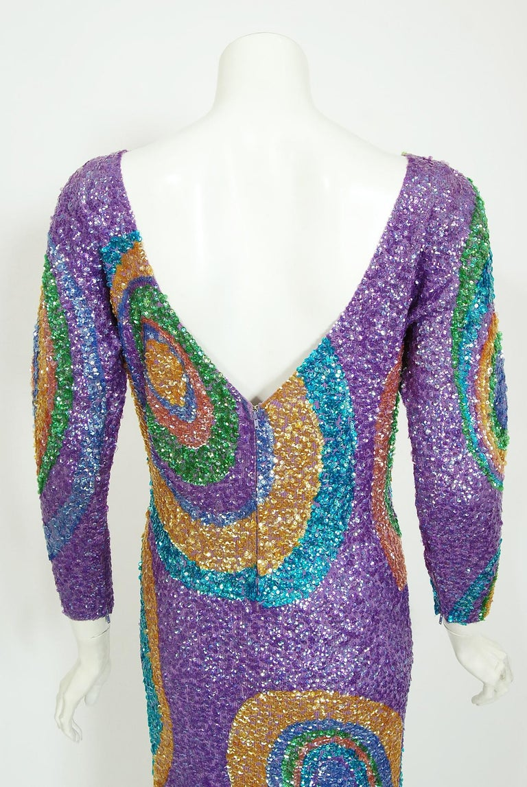 Vintage 1960's Gene Shelly Colorful Atomic Swirl Sequin Wool Knit Hourglass Gown For Sale 5
