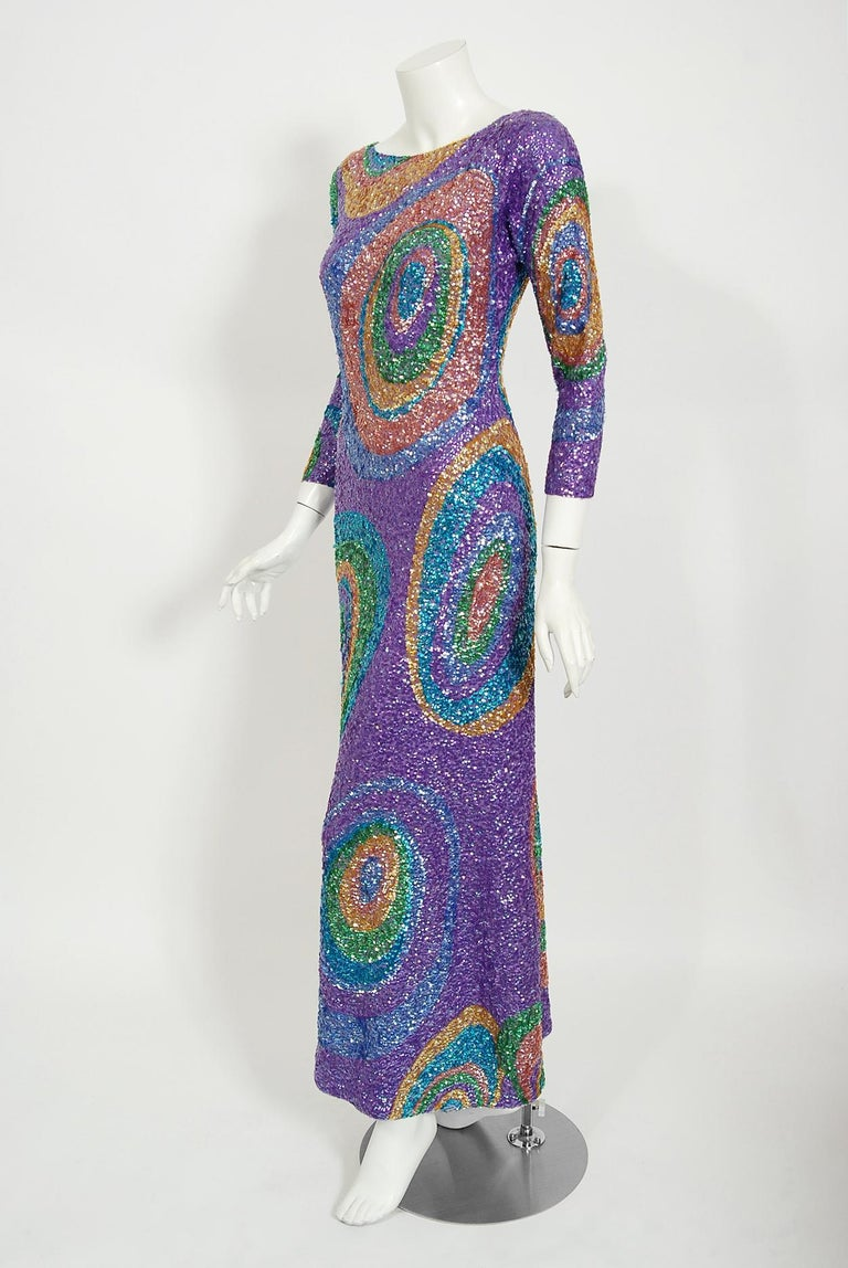Women's Vintage 1960's Gene Shelly Colorful Atomic Swirl Sequin Wool Knit Hourglass Gown For Sale