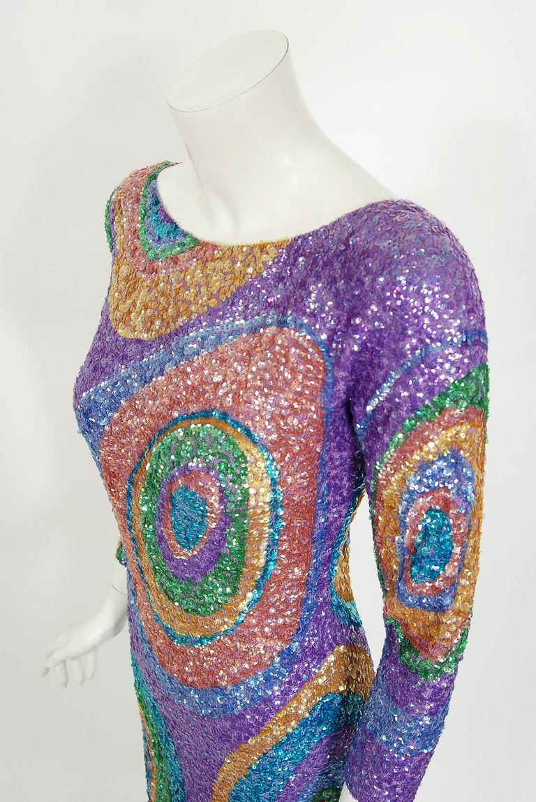 Vintage 1960's Gene Shelly Colorful Atomic Swirl Sequin Wool Knit Hourglass Gown For Sale 1
