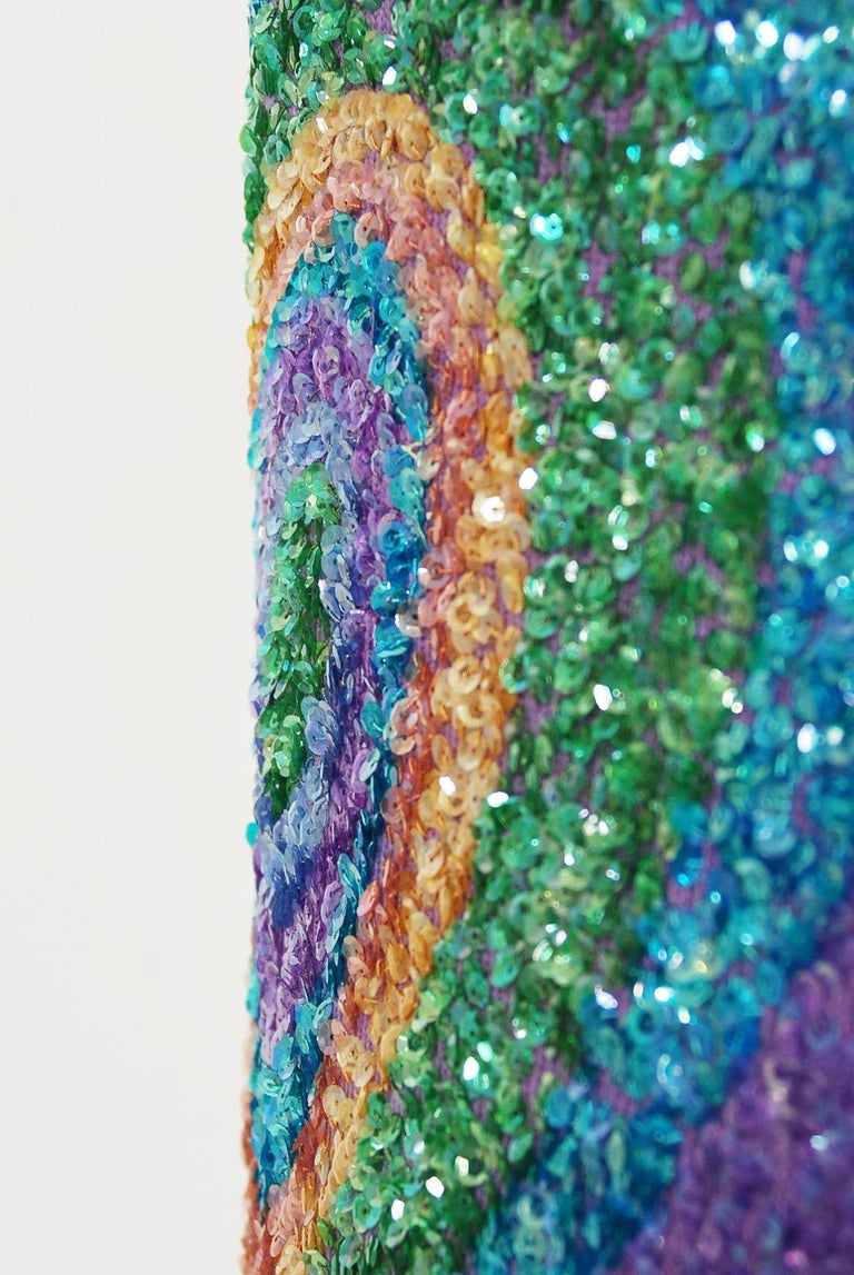 Vintage 1960's Gene Shelly Colorful Atomic Swirl Sequin Wool Knit Hourglass Gown For Sale 2